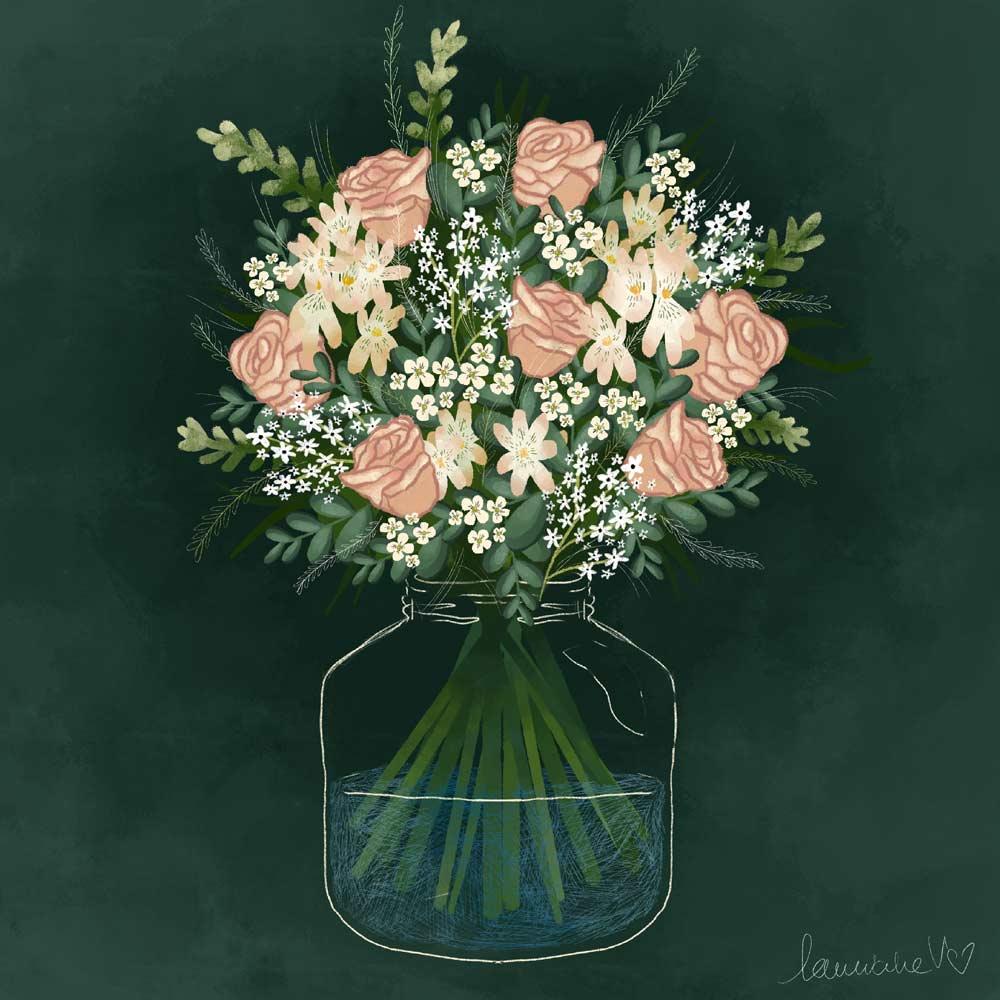 They draw and garden - bouquet - Lauriane Vincent - Illustration non libre de droit