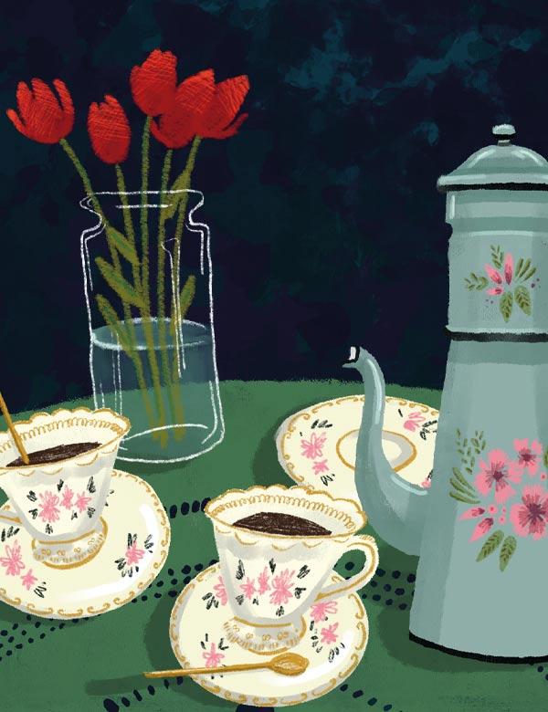 Illustration culinaire- le café - Lauriane Vincent - Tous droits réservés