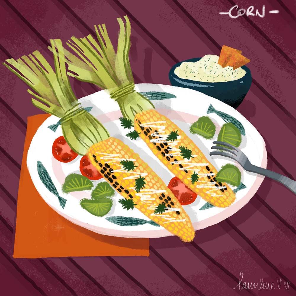 Corn - illustration de Lauriane Vincent non libre de droits.