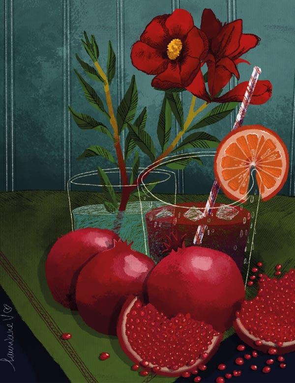 Illustration culinaire par Lauriane Vincent - Grenades - tous droits réservés