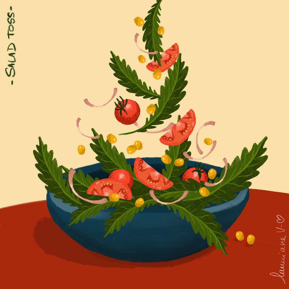 Salad toss - illustration de Lauriane Vincent non libre de droits.