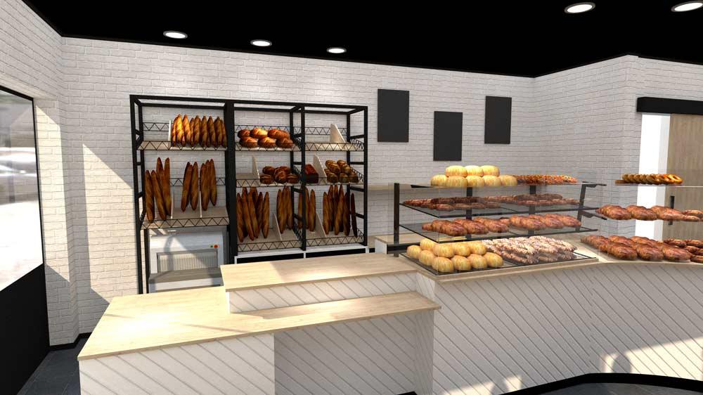 Perspective 7 boulangerie Évreux - PixeLV pour CR Agencement