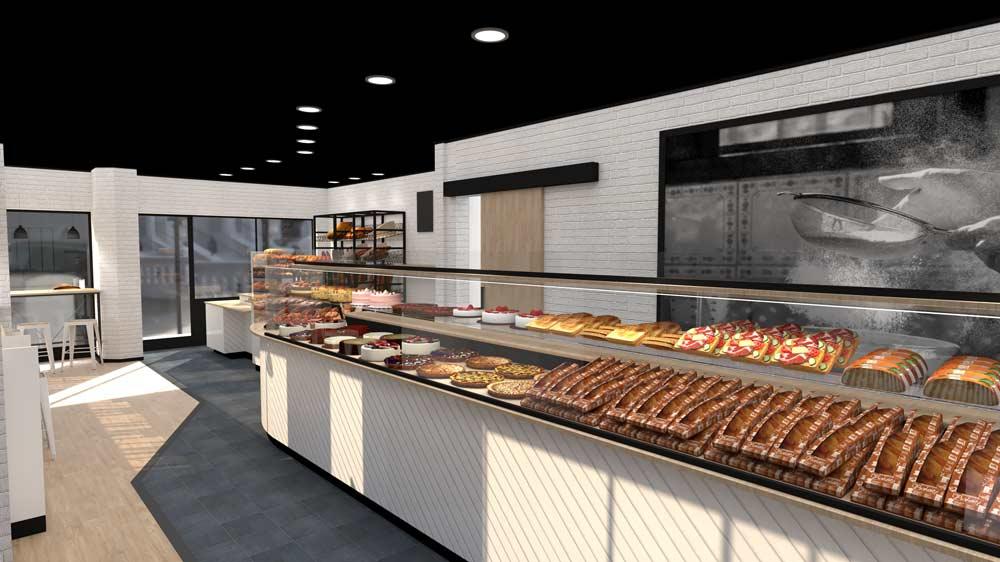 Perspective 1 boulangerie Évreux - PixeLV pour CR Agencement