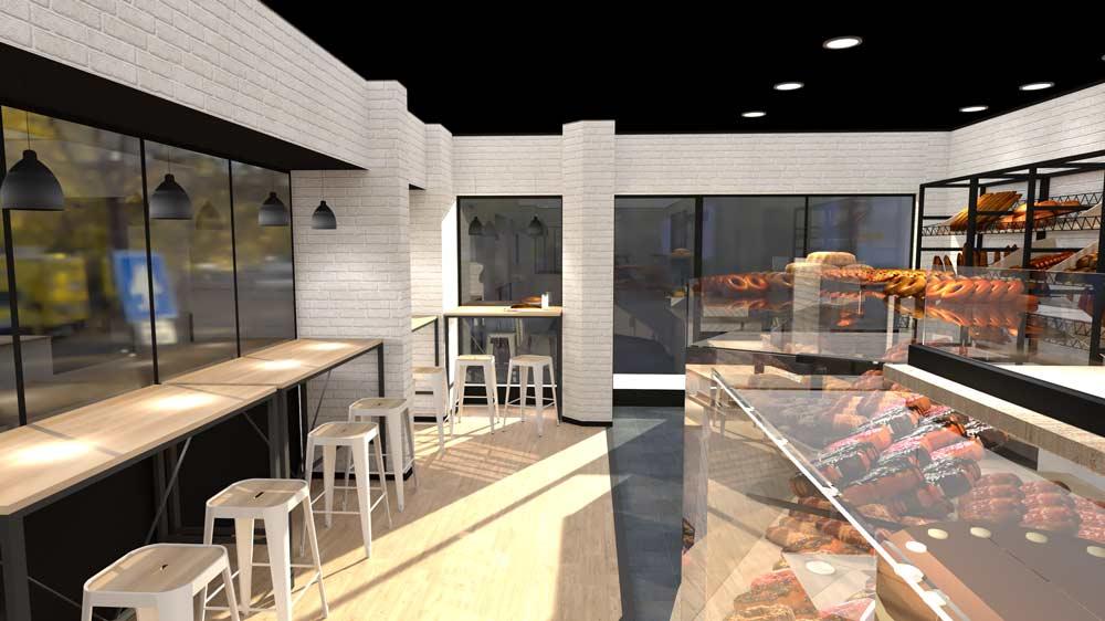 Perspective 2 boulangerie Évreux - PixeLV pour CR Agencement