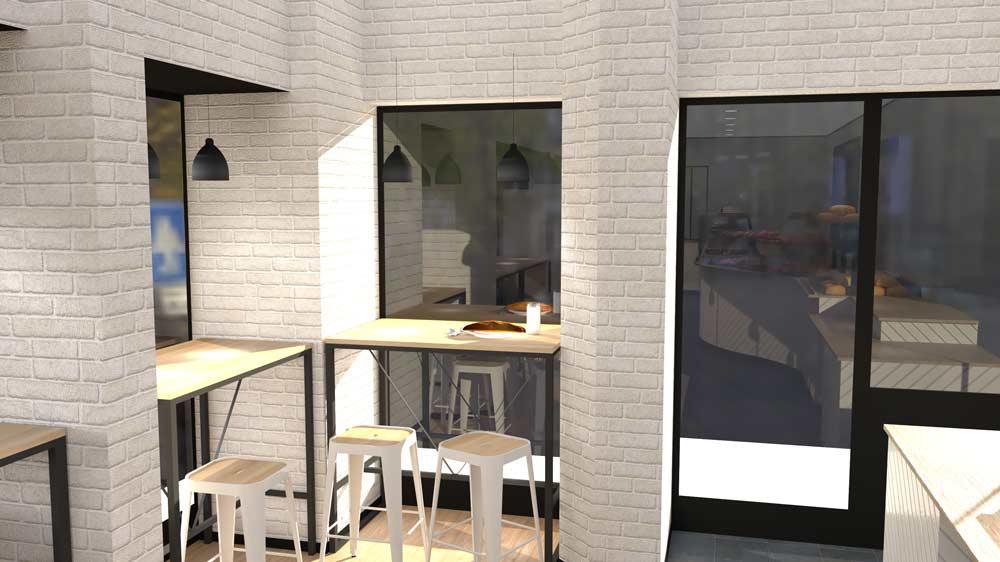 Perspective 3 boulangerie Évreux - PixeLV pour CR Agencement