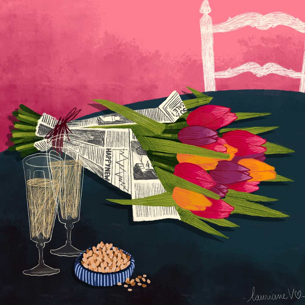 They draw and garden - tulipes - Lauriane Vincent - Illustration non libre de droit